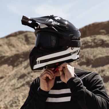 RUKKA ELASTINA Damska tekstylna kurtka motocyklowa gore-tex czarno biała z neonowym kołnierzem
