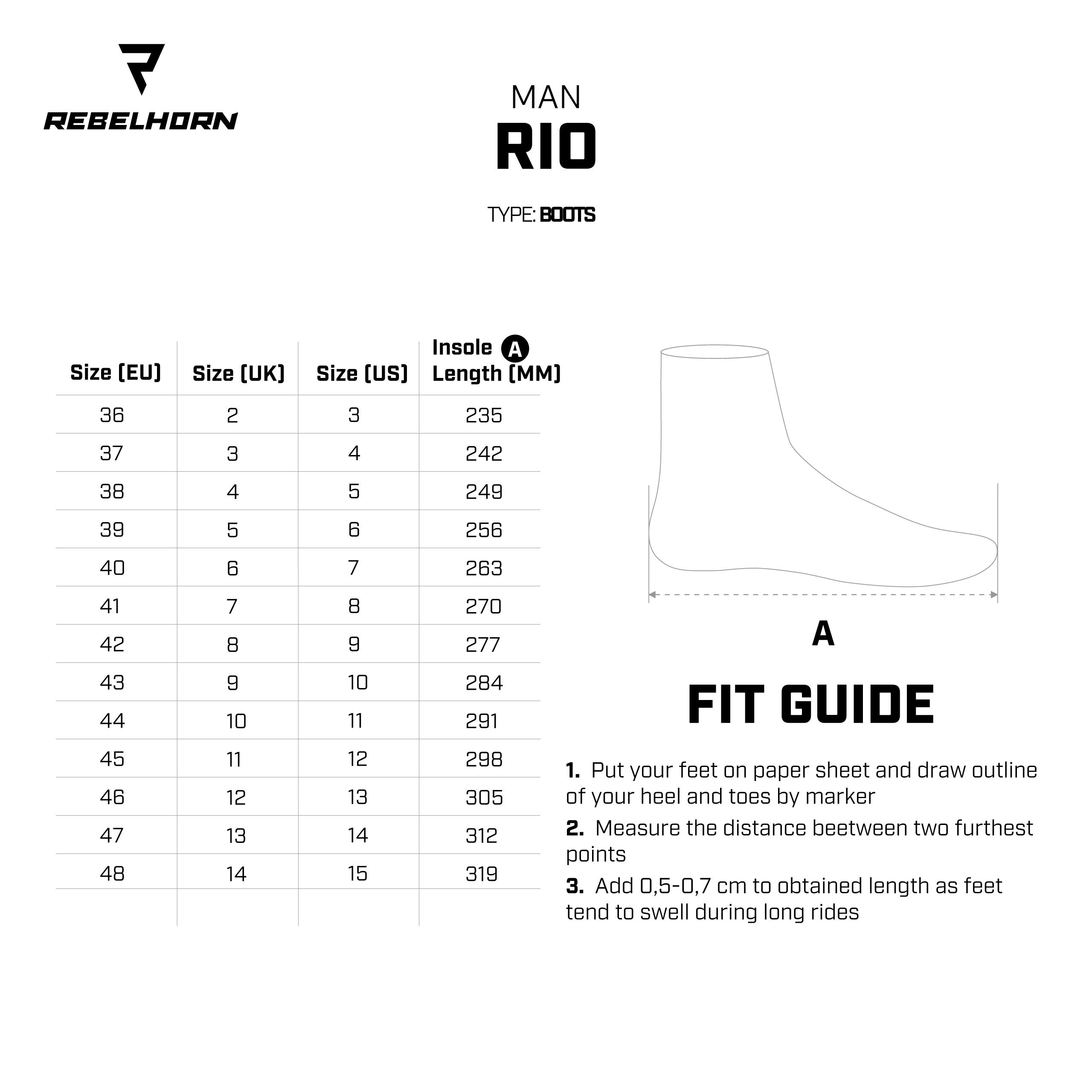 Tabela rozmiarów butów motocyklowych Rebelhorn RIO czarnych
