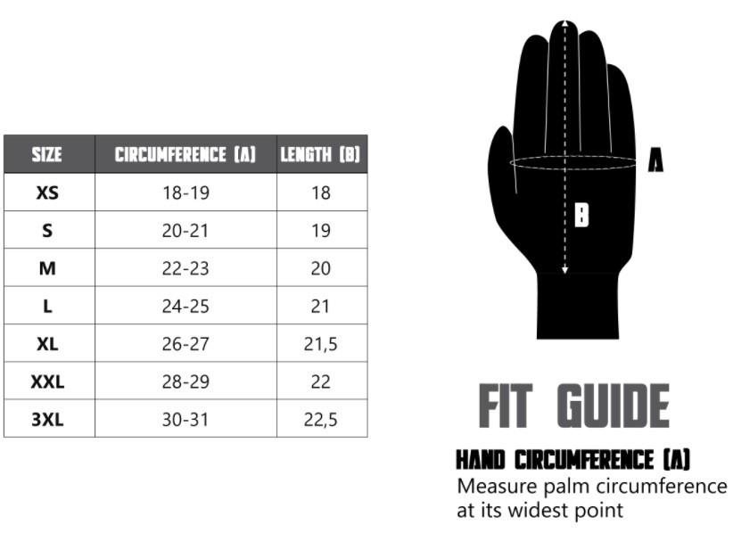 tabela rozmiarów rękawicy motocyklowej town ii ozone